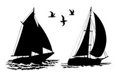 Silhouettes of sailing yachts and seagulls. On a white background. Vector silhouette hand-drawn vector illustration