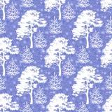 Silhouettes sans couture, d'arbres et neige Photos libres de droits