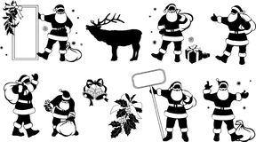 Silhouettes of Santa Claus with Sign Royalty Free Stock Photography