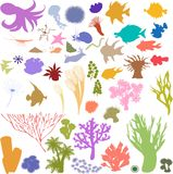 Silhouettes of sea animal Stock Image