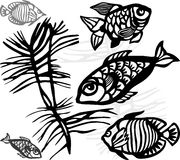 Silhouettes of sea fishes Royalty Free Stock Image