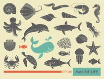 Marine life icons. Silhouettes of sea inhabitants. Vector flat illustration Royalty Free Stock Photography
