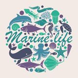 Marine life icons in the form of a circle. Silhouettes of sea inhabitants. Vector flat illustration Stock Image