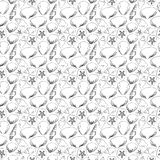 Silhouettes of sea shells black and white seamless pattern. Different types of sea shells and sea urchins. Irregular Stock Image