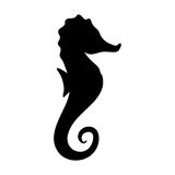 Silhouettes of  seahorse  black and white vector illustr Stock Photography