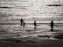 Silhouettes on the seashore Stock Photos