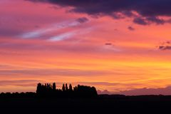 Silhouettes in the September sunset . royalty free stock photography