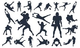 Silhouettes set American Football Players, vector pack, various pose set, super bowl, American football player vector illustration stock illustration