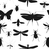 Silhouettes Set of Beetles, Dragonflies and Butterflies Seamless Royalty Free Stock Photo