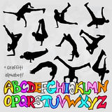 Silhouettes set of break dancers Stock Images