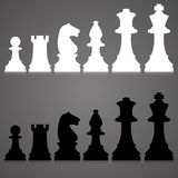 Silhouettes. set of standard chess pieces. Royalty Free Stock Photo