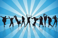 Silhouettes sexy de danseurs Image stock