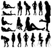 Silhouettes sexy de femme Photographie stock libre de droits