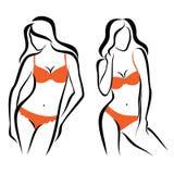 Silhouettes sexy de femme, sous-vêtements Photos libres de droits