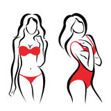 Silhouettes sexy de femme, sous-vêtements Photo libre de droits