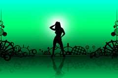 Silhouettes of sexy girl Royalty Free Stock Images
