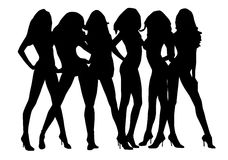 Silhouettes Sexy Girl Royalty Free Stock Photo