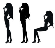 Silhouettes of sexy woman Royalty Free Stock Images