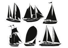 Silhouettes of ships. Black silhouette of a ship on a white background Royalty Free Stock Photos