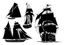 Silhouettes of ships. Black silhouette of a ship on a white background Royalty Free Stock Images