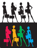 Silhouettes of shopping girls. Four silhouettes of girls, each of them can be used separately Royalty Free Stock Photography