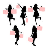 Silhouettes of shopping women Royalty Free Stock Photography