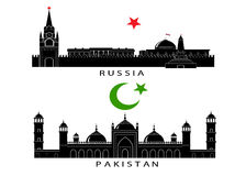 Silhouettes of sights of Russia and Pakistan. Royalty Free Stock Photo