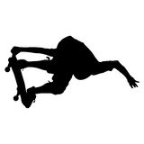Silhouettes a skateboarder performs jumping. Vector illustration Stock Photos