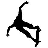 Silhouettes a skateboarder performs jumping. Vector illustration Royalty Free Stock Photos
