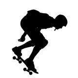 Silhouettes a skateboarder performs jumping. Vector illustration Stock Image