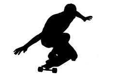 Silhouettes of skater boy. Stock Photography
