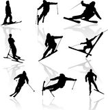 Silhouettes of skiers Royalty Free Stock Images