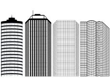 Silhouettes Of Skyscrapers Stock Photo