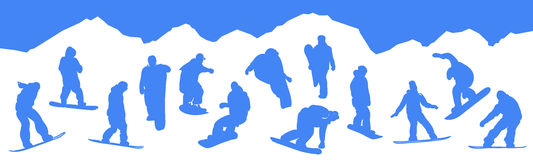 Silhouettes snowboarders Royalty Free Stock Image