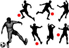 Silhouettes of soccer players. Royalty Free Stock Photography
