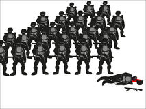 Silhouettes Of Soldiers Royalty Free Stock Photography