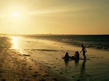 silhouettes solnedgång Arkivbild