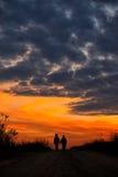 silhouettes solnedgång Royaltyfri Bild