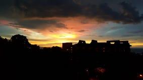 silhouettes solnedgång Arkivbilder