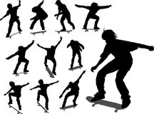 Silhouettes of some skateboarders. In different moments stock illustration