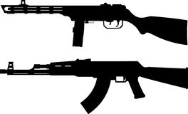 Silhouettes of soviet machine guns Royalty Free Stock Photography