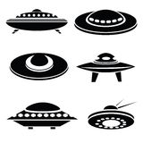 Silhouettes of spaceships Stock Images