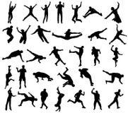 silhouettes sporten Royaltyfri Bild