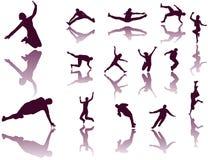 silhouettes sporten Royaltyfria Bilder
