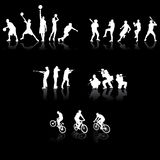 silhouettes sporten Royaltyfri Fotografi