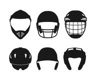 Silhouettes of sports helmets on a white background. Protective equipment in a realistic style. Vector illustrationn Royalty Free Stock Photos