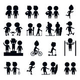 Silhouettes sports people set. Silhouette various sports scene Royalty Free Stock Photos