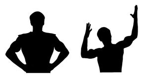 silhouettes sportsman två Royaltyfria Bilder