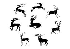 Silhouettes of stags Stock Photos