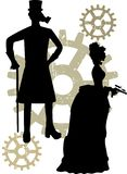 Silhouettes of Steampunk Victorians grungy gear stock illustration